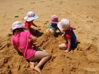 Burying Poppy in the sand
