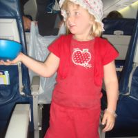 handing out the lollies on the flight to Christchurch