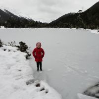Standing on the iced-over lake