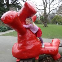 Poppy always has to give this particular statue at the Botanical Gardens playground a cuddle whenever she sees it.