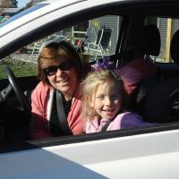 Adrienne & Poppy ready to drive home to Nelson....