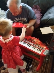 Uncle Christopher and Tori give Poppy a wonderful kids keyboard!