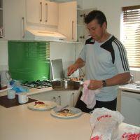 Simon cooks breakfast