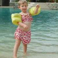 Poppy dancing at the pool