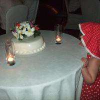 Checking out the wedding cake