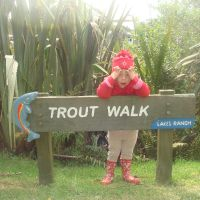 On the trout walk - Poppy was convinced the sign said SHARKS!