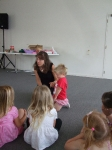 Jenny sings to Poppy at Kids Church