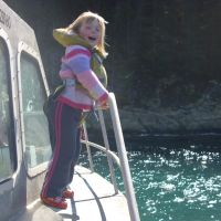 Poppy on the boat