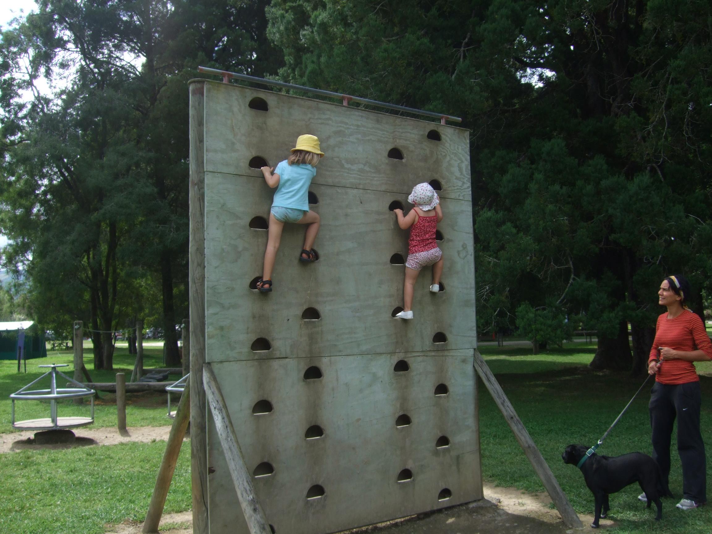 Charlee & Poppy climb the wall