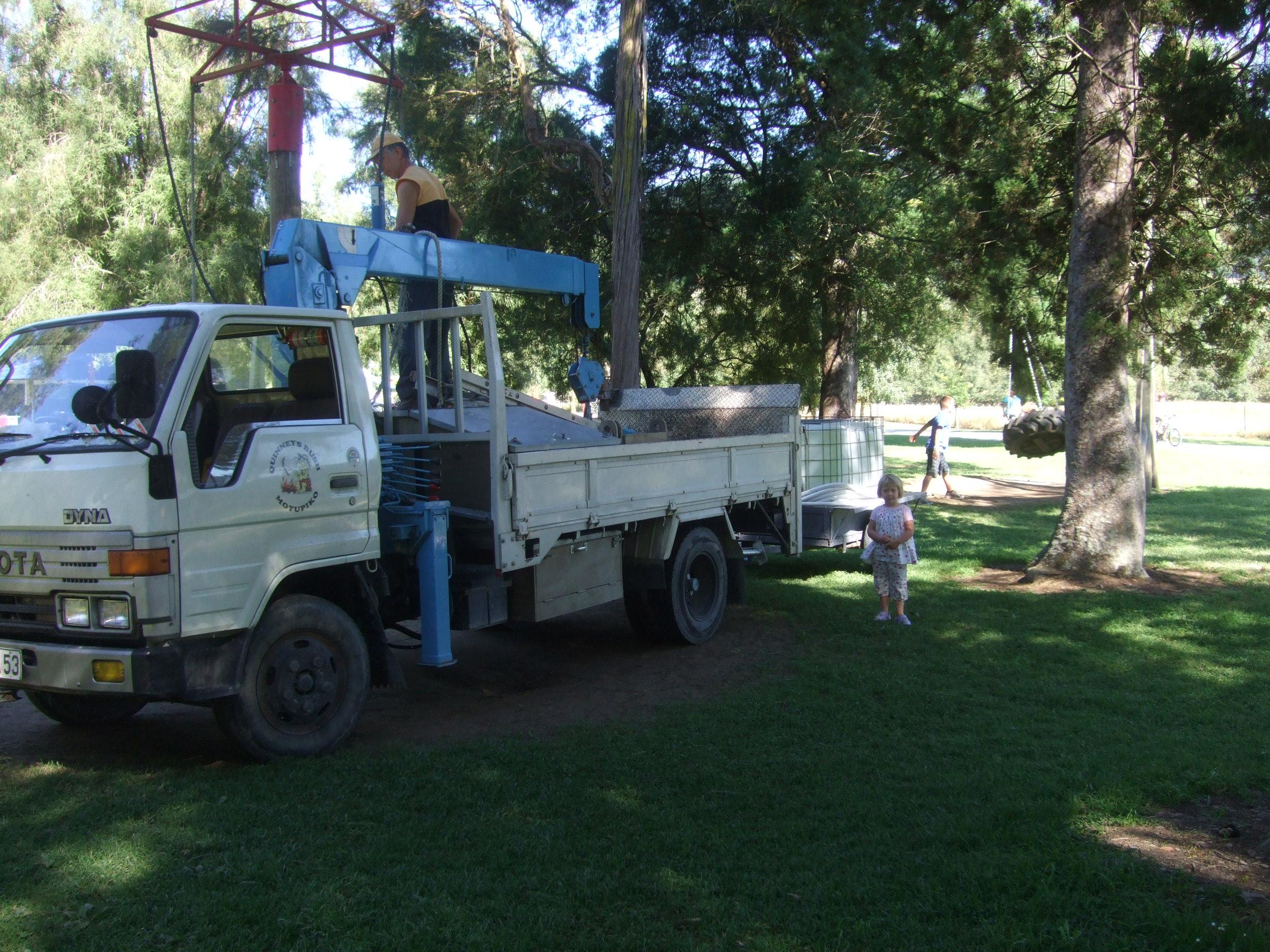 Mark Quinney fixing some playground equipment