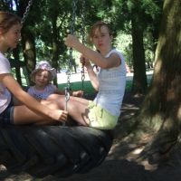 Tyre swing with new friends